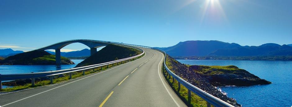 Road leading to a bridge.